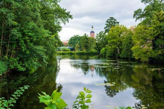 Bild von einem Kanal, dicht bewachsenem Ufer, ein Turm der Zitadelle Spandau ragt hinter den Baumkronen hervor